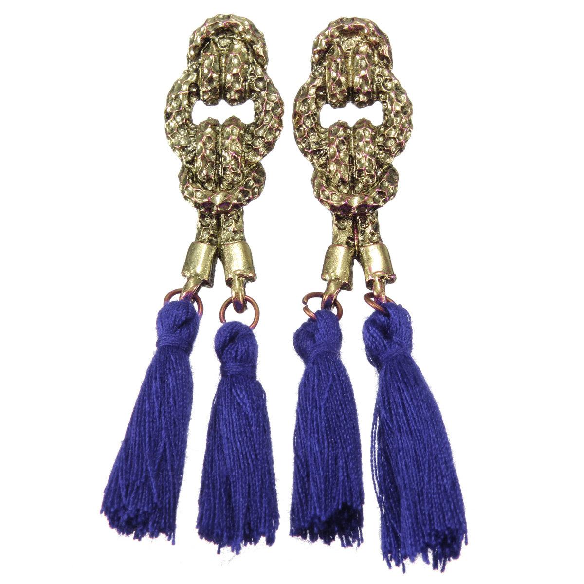 Vintage Knot Thread Tassels Bronze Earrings