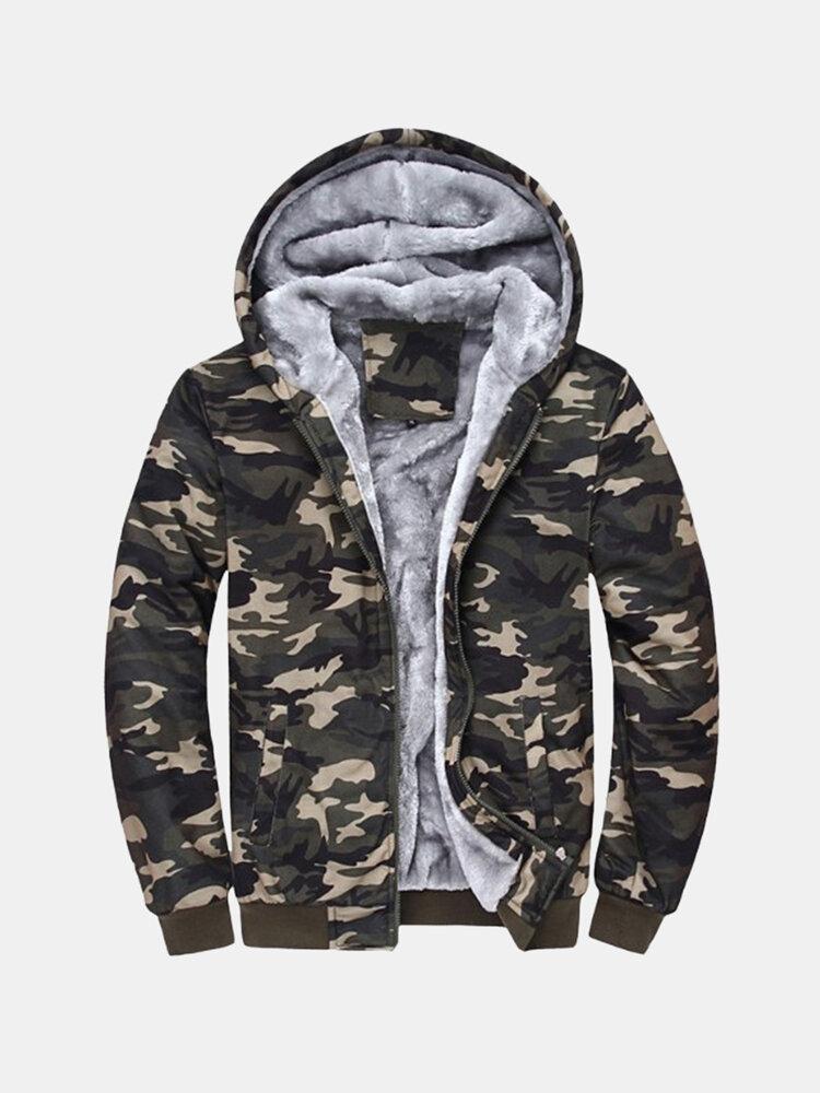 Мужские зимние Камуфляж Пальто Толстовки Толстовки Толстые ватки Zipper Jacket