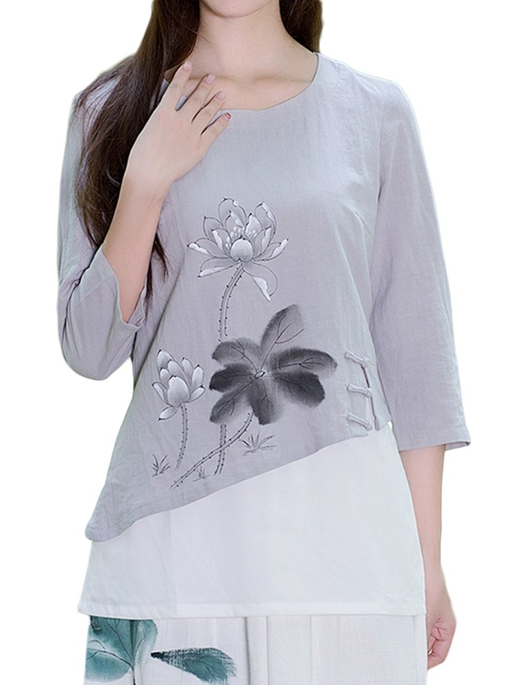 Layers Patchwork Ink Printed Side Invisible Zipper Vintage Women Blouse