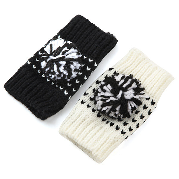 Lovely Knitted Color Mixing Gloves Half Fingerless Screen Touch Gloves With Wool Ball