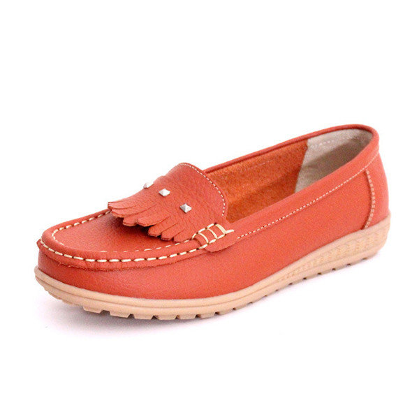 Women Casual Flat Loafers Rivet Non Slip Shoes