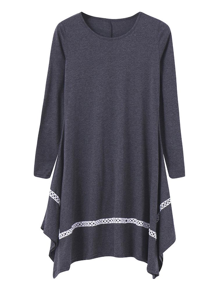 Women Causal Loose Irregular Long Sleeve O-neck Mini Dress