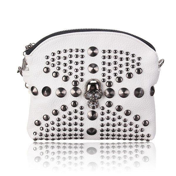 Women Fashion Skull Rivet Doubble Zipper Crossbody Bag