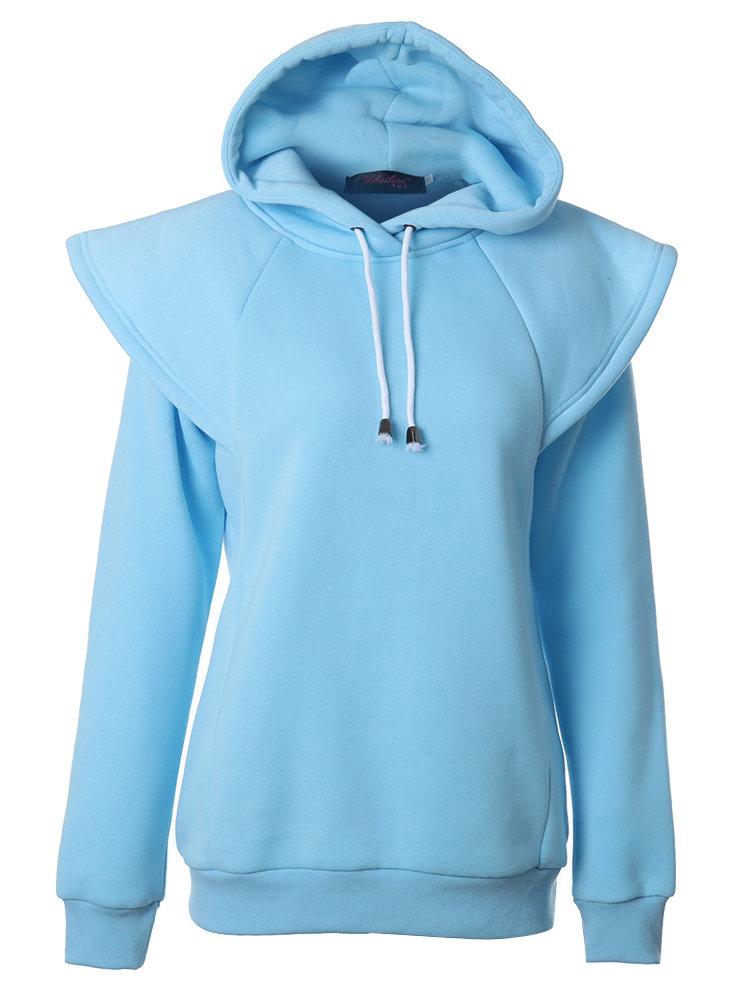 Casual Women Hooded Patchwork Pure Color Sport Sweatshirt