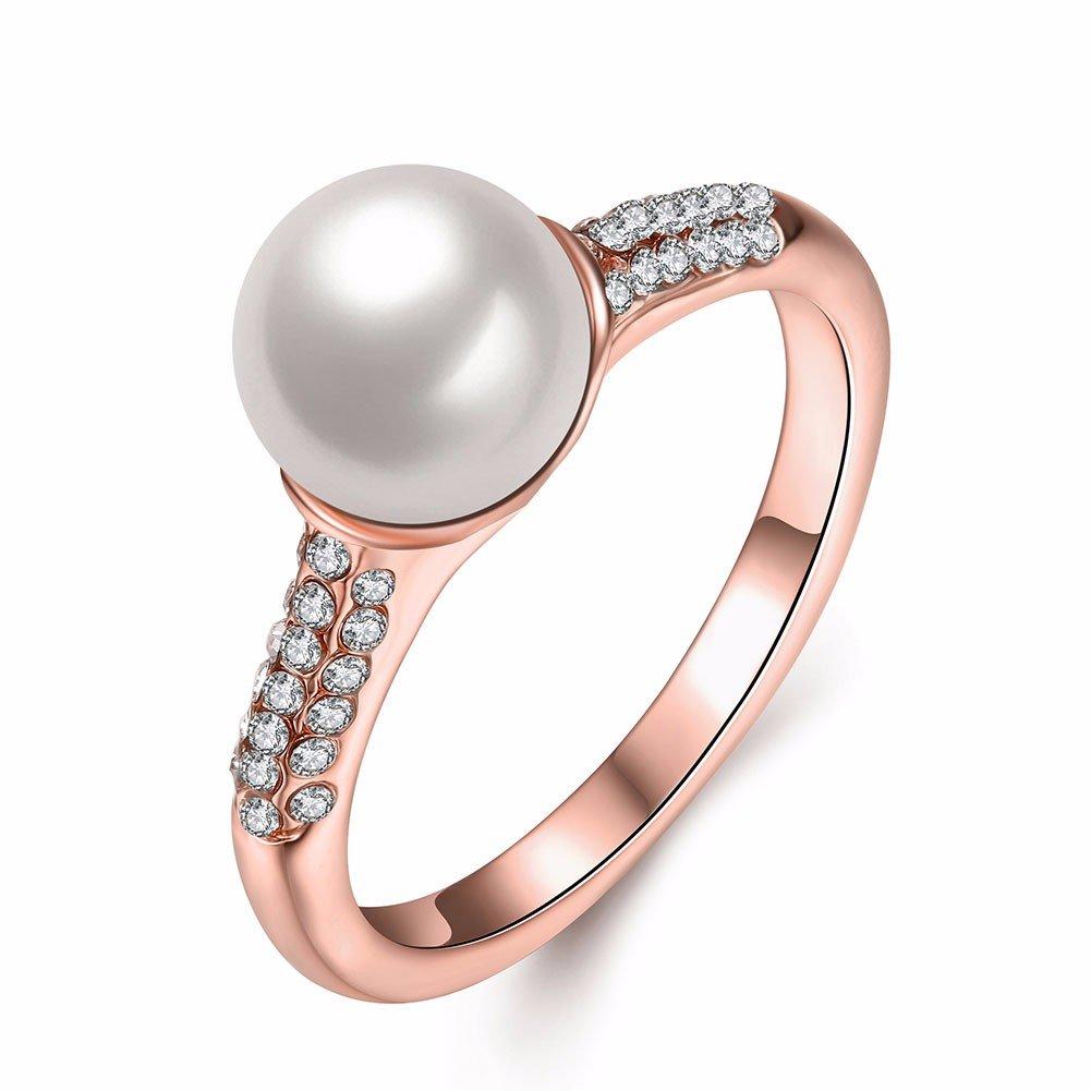 Роскошные простое кольцо розовое золото Pearl Rhinestone кольца для женщин подарок