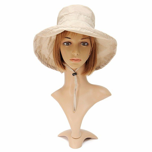 Women Wide Brim Cotton Hat Sunscreen Vision Beach Sun Cap
