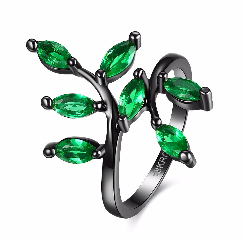 Vintage Women Ring Luxury Leaves Glass Crystal Ring for Gift