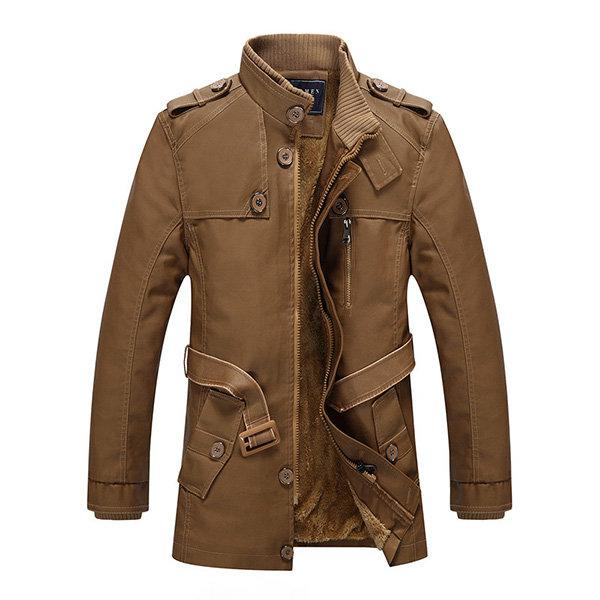 Мужская мода Стенд воротник куртки Кожа PU Пушистый Подкладка Теплый Slim Fit пальто