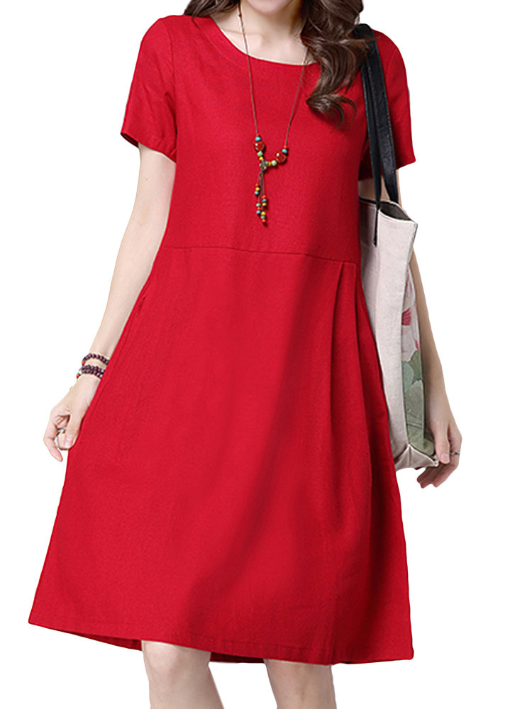 Vintage Short Sleeve Pocket Pure Color Dress For Women