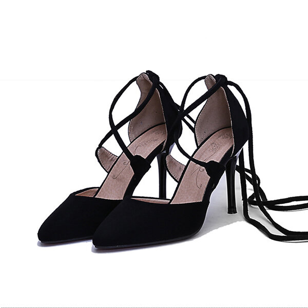 Sexy Cross-ремень кольцевание Сандал дамы Остроконечные Toe Обувь на высоком каблуке