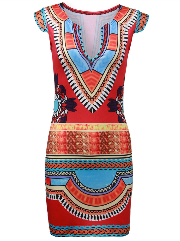 Women Deep V Neck Ethnic Floral Printed Bodycon Mini Dress