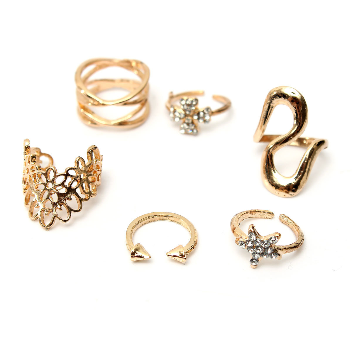 7pcs Gold Crystal Star Clover Above Knuckle Unique Rings Set