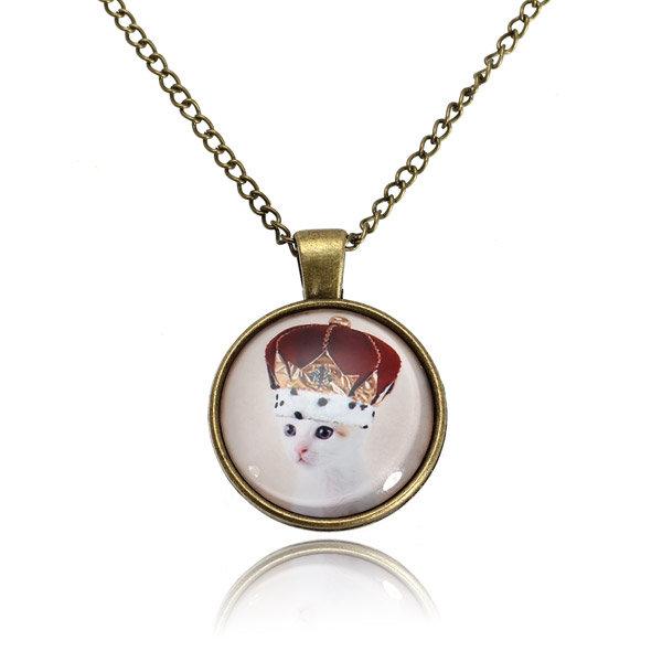 Кошка Стекло Кабошон Бронзовый Сеть ожерелье