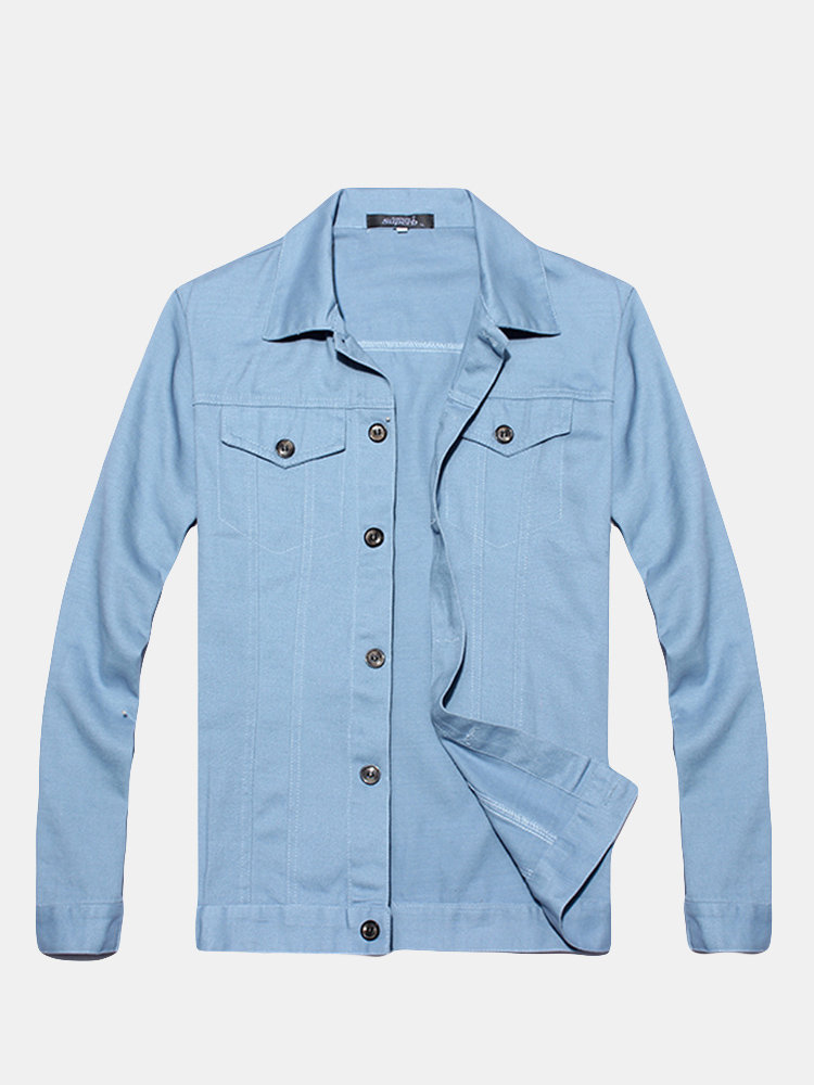 Mens Fashion Outer Spring Fall Brief Style Slim Fit Casual Cotton Shirt