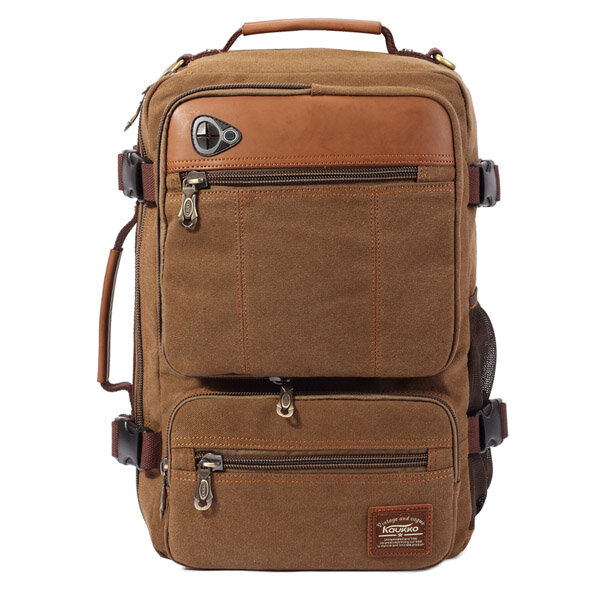 KAUKKO Men Canvas Durable Large Capacity Travel Sports Outdoor Casual Backpack