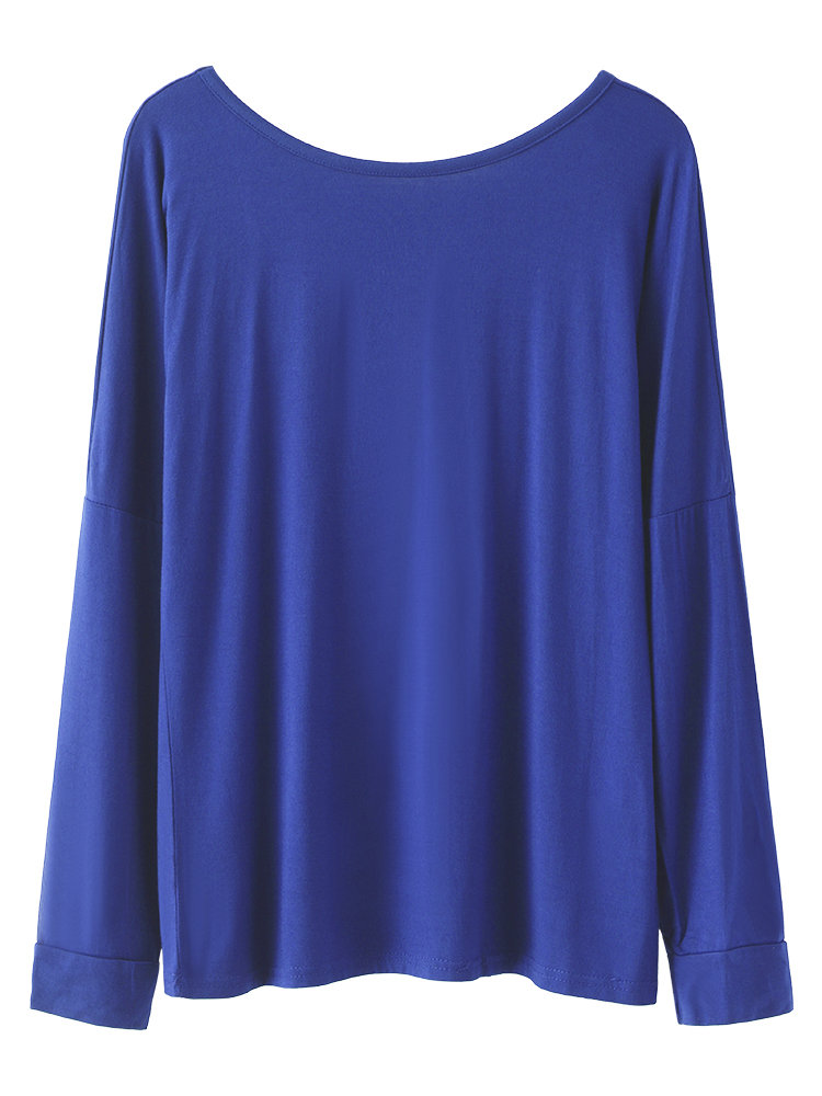 Women Casual Solid Color Backless O-Neck Long Sleeve T-shirt