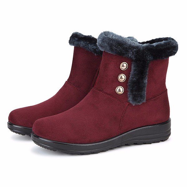 Large Size Suede Keep Warm Button Ankle Snow Boots