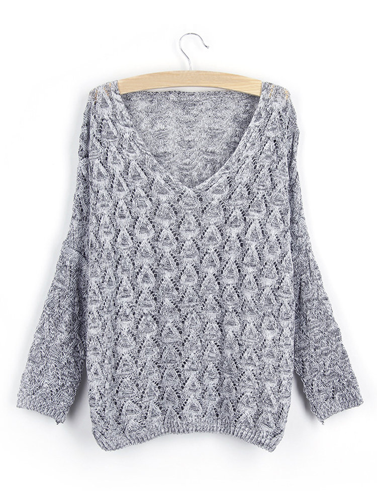 Women Long Sleeve V-neck Hollow Out Knit Sweater