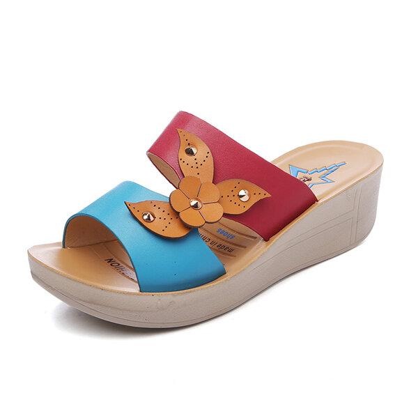 Цветок Color Match выдалбливают Мягкий Peep Toe платформы сандалии