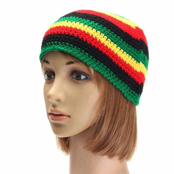 Women Striped Bucket Hats Fishing Casual Knitted Headwear Caps