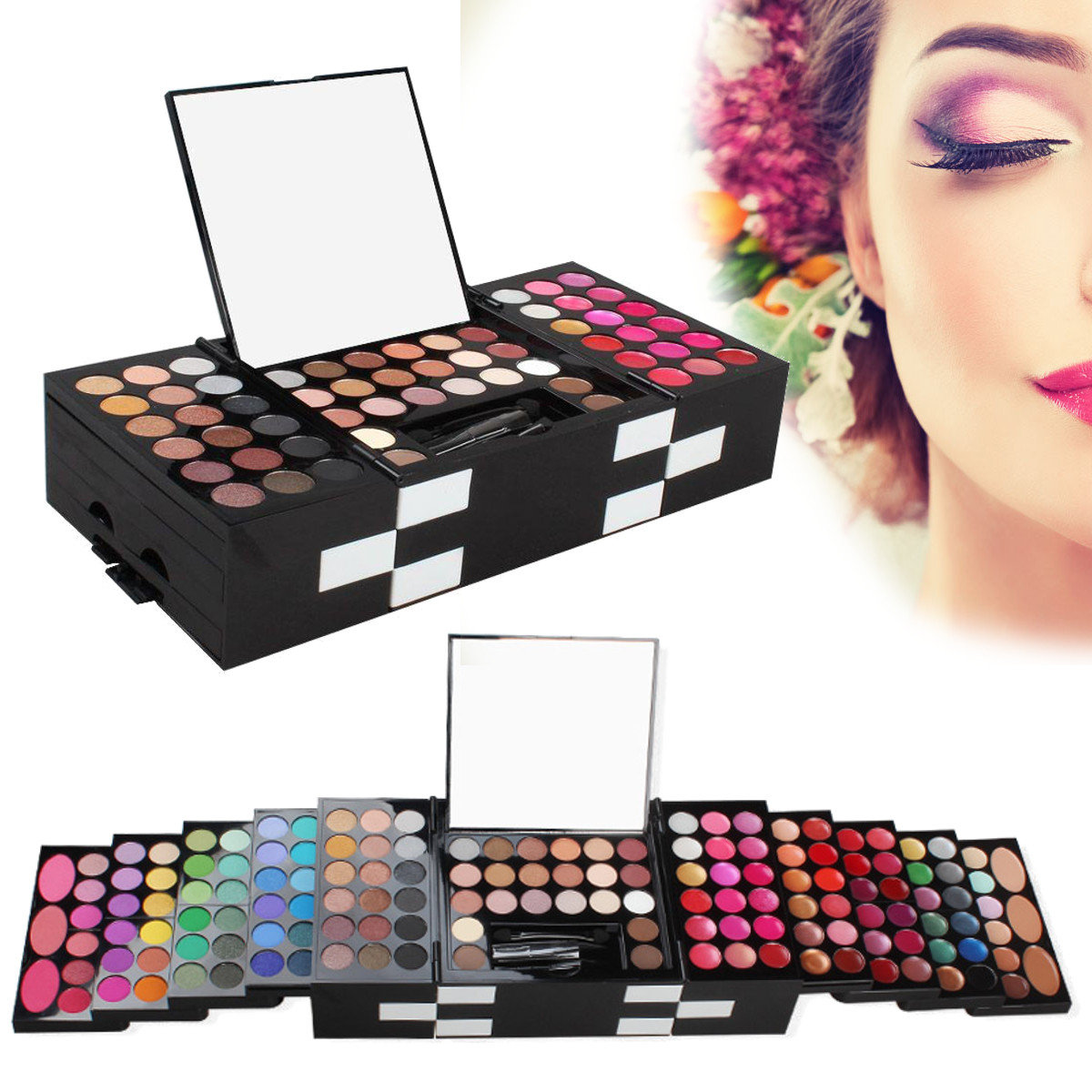 148 Colors Professional Matte Eyeshadow Lipstick Concealer Blush Foundation With Mirror Cosmetic Kit