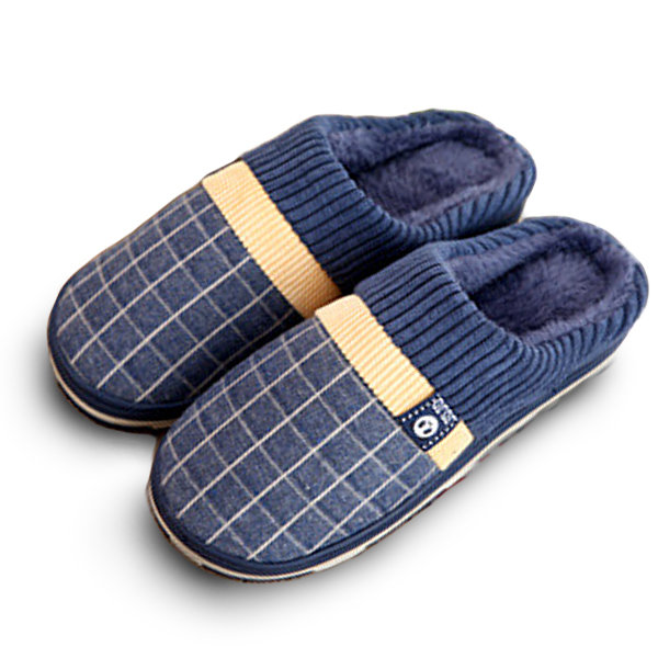 Men Plaid Color Matching Slip On Indoor Flat Home Shoes