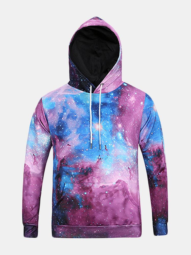 Мужские толстовки Оригинальный 3D Звездное небо Печать Мода Повседневная Спорт с капюшоном Верхняя одежда