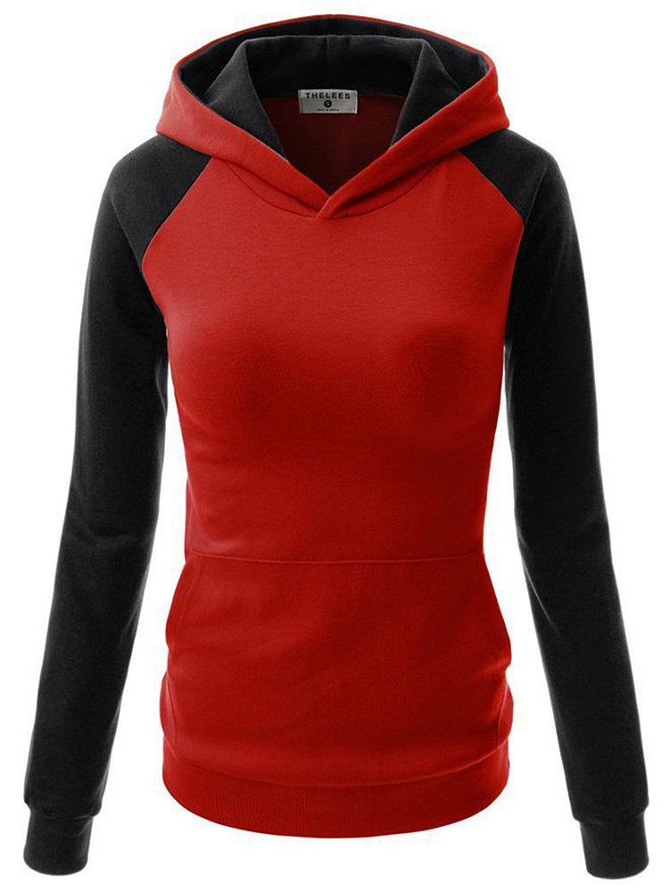 Women Long Sleeve Contrast Color Cotton Hooded Sweatshirt