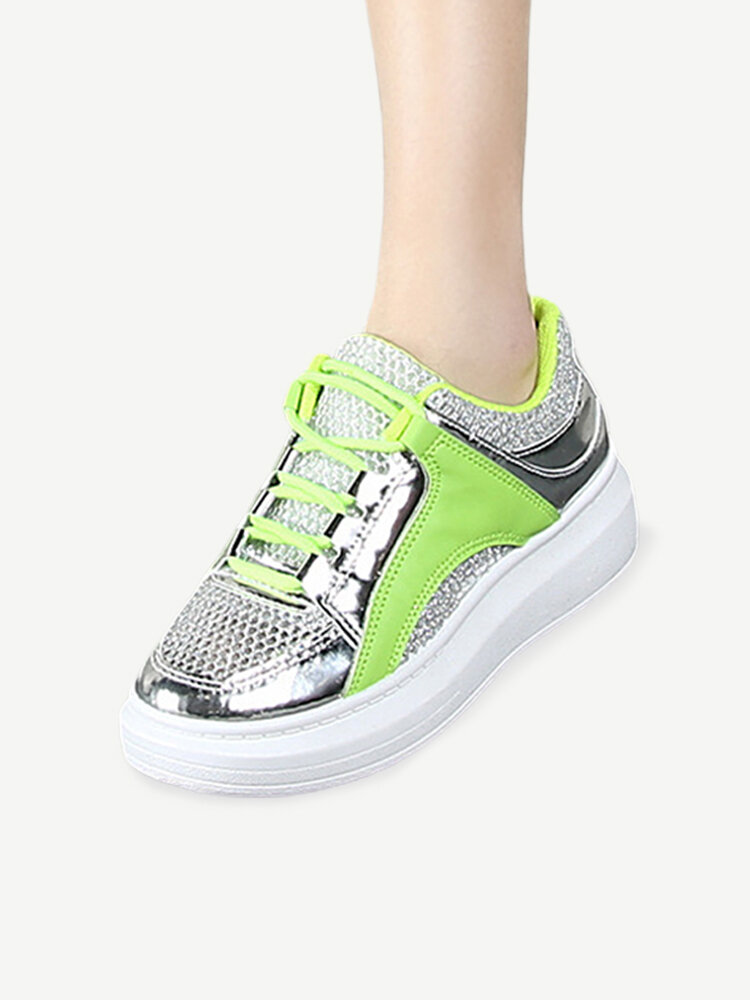 Mesh Pu Color Match Breathable Lace Up Flat Casual Shoes