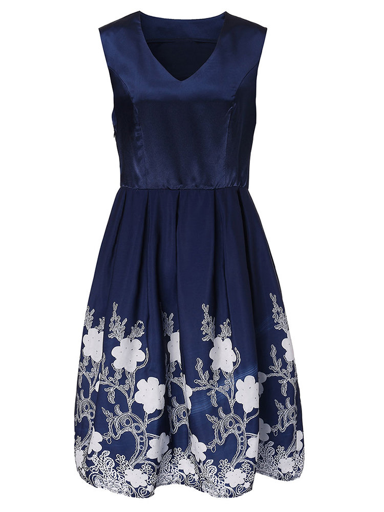 Retro Women Floral Printed Sleeveless V Neck A-line Dress