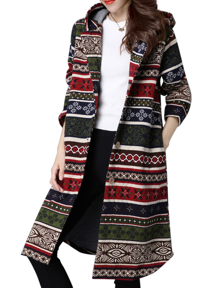 Casual Printed Autumn Long Sleeve Button Hooded Long Cardigan For Women