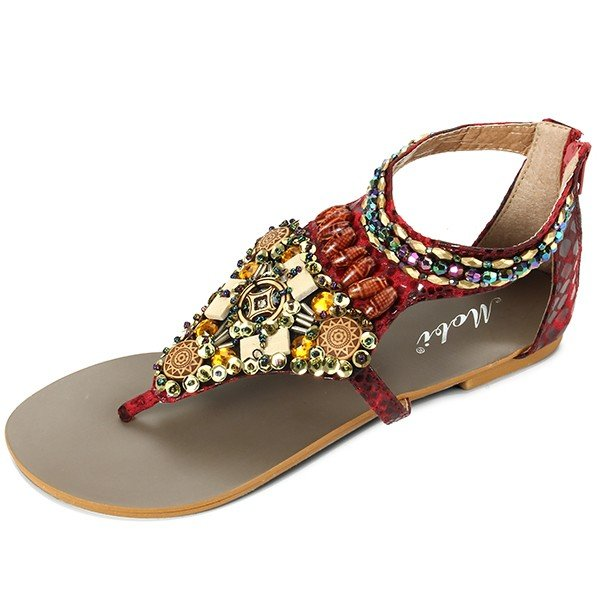 Bohemia Bead Chain Color National Wind Vintage Clip Toe Zipper Flat Sandals