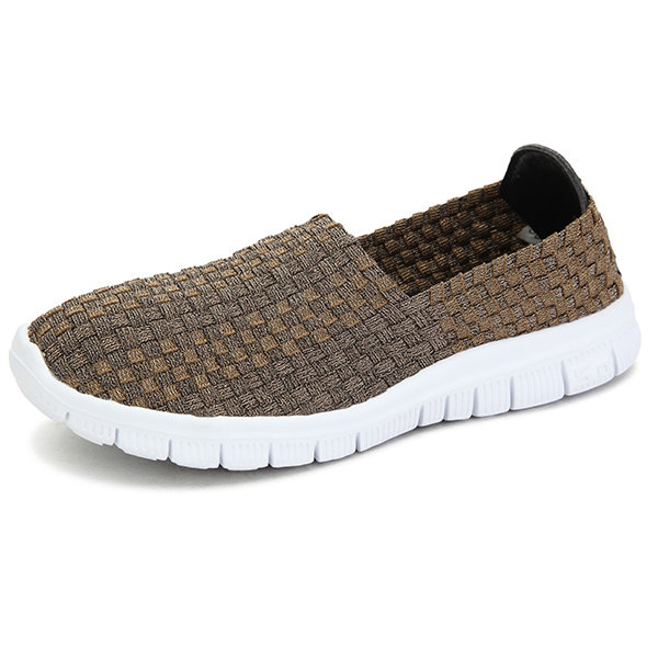 Breathable Elastic Handmade Knitting Slip On FlatCasual Outdoor Sport Shoes