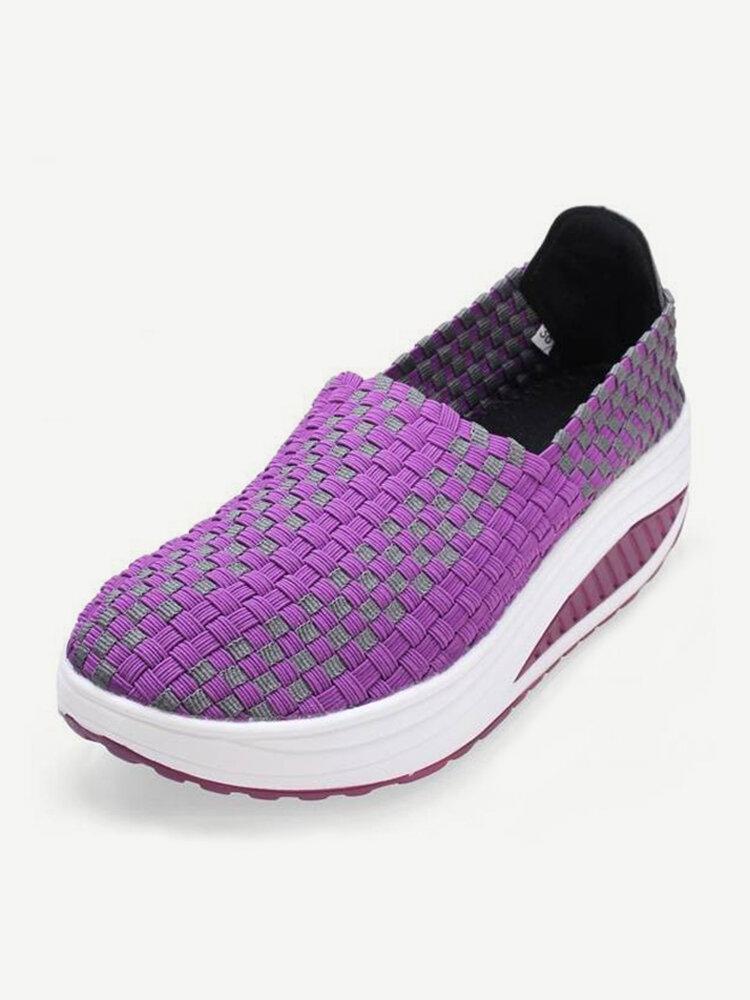 Stretch Повседневный дышащие Вязание Платформа поскользнуться на Шук обувь кроссовки