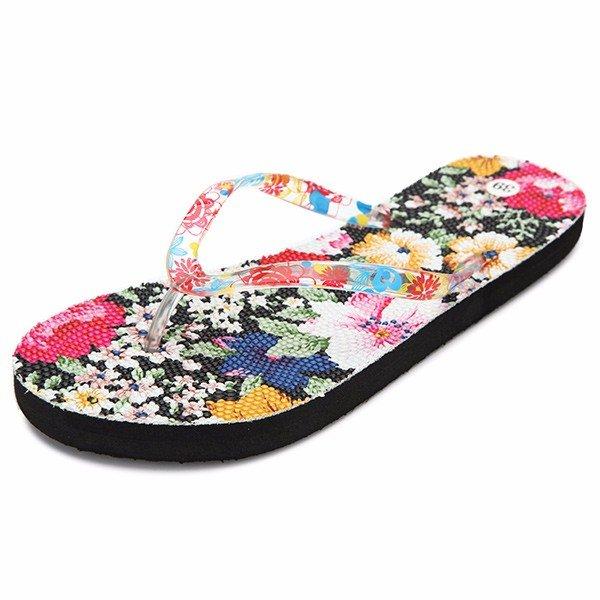 Flower Print Clip Toe Flat Slip On Summer Beach Flip Flops Slippers
