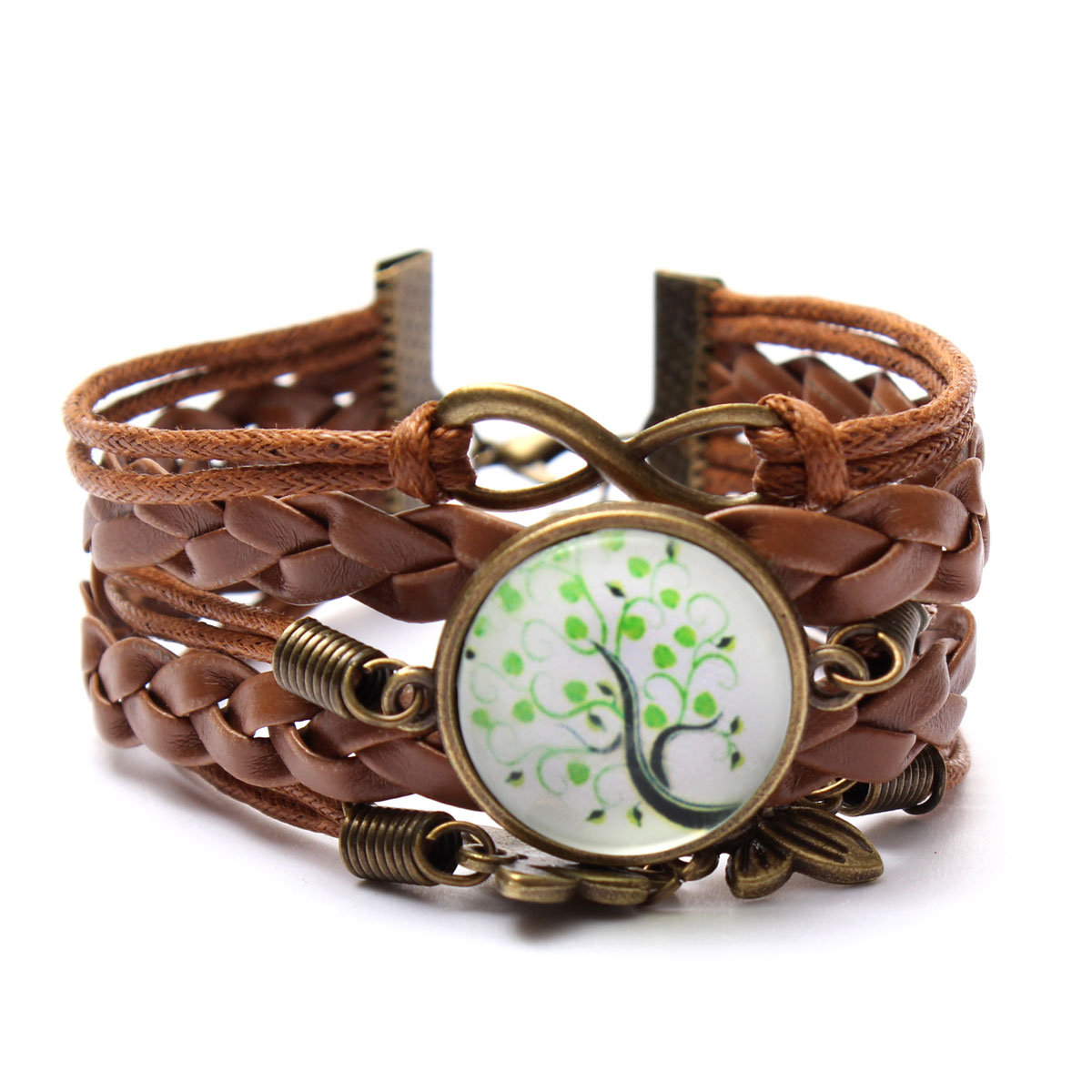 Life Tree Galaxy Cabochon Bronze Leather Bracelet