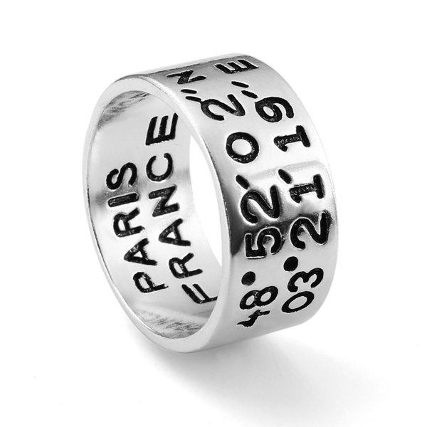 S925 Silver Ring Vintage Digital Carving Widened Longitude Latitude Ring
