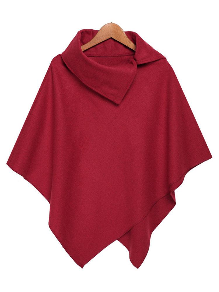 Мода Сыпучие Pure Color Turtleneck Нерегулярное плащ Шали для женщин