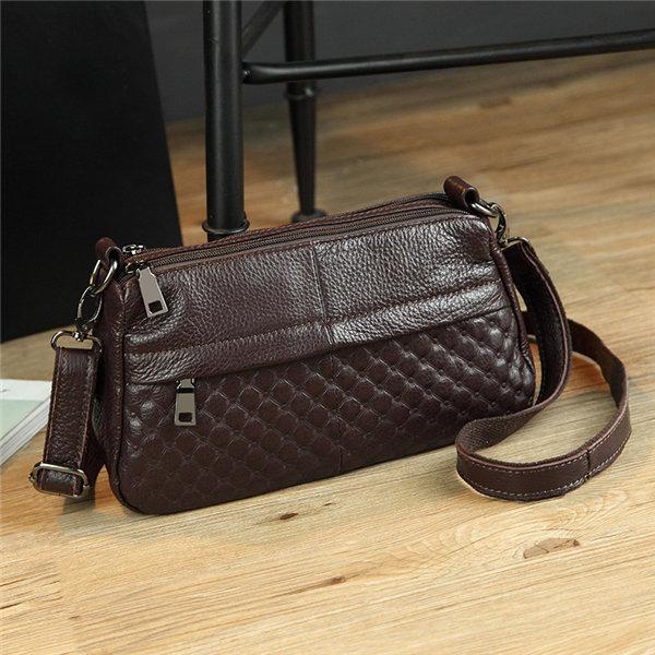 Women Genuine Leather Zipper Elegant Shoulder Bags Crossbody Bags