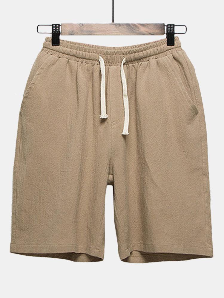 Summer Mens Elastic Waist Drawstring Flax Breathable Knee Length Loose Casual Shorts