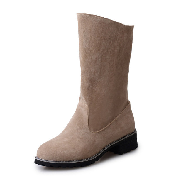 Pure Color Mid Calf European Style Slip On Square Heel Boots For Women