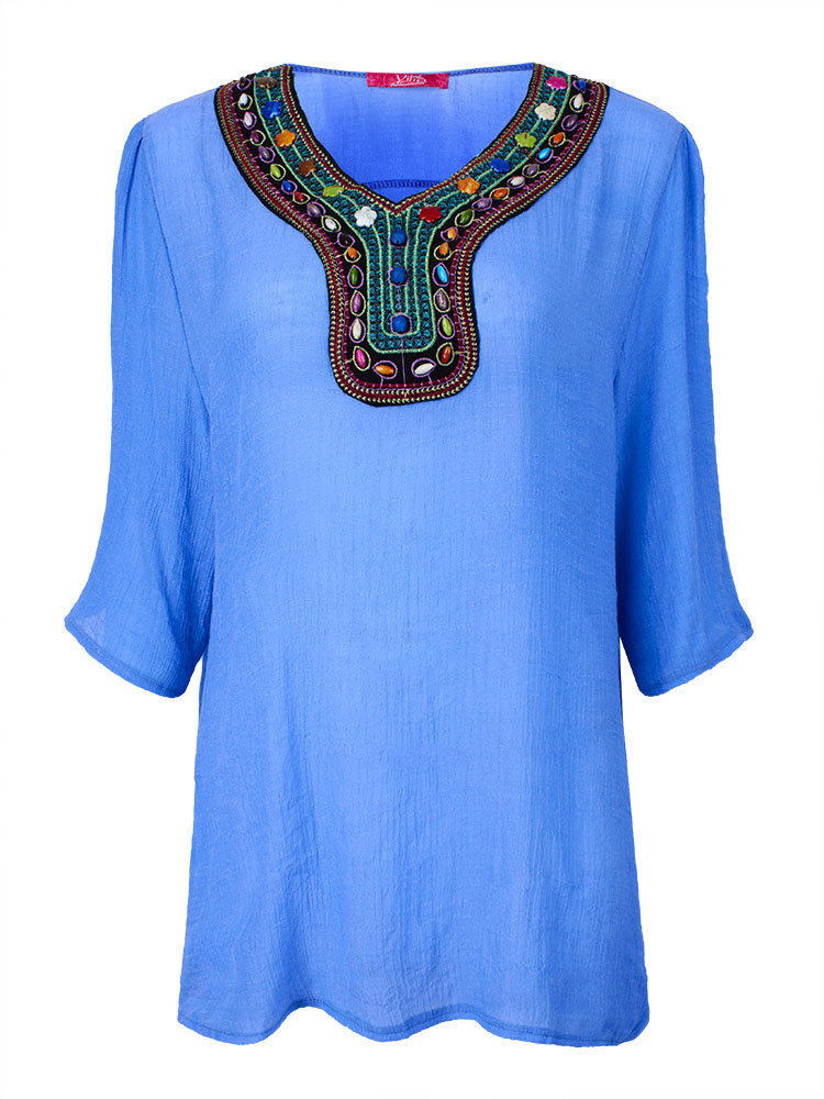 Plus Size Casual Short Sleeve Beaded Ethnic V-Neck Loose Blouse