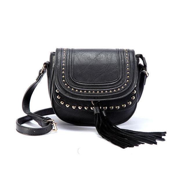 Women Vintage Rivet Tassel Pendant Shoulder Bags Crossbody Bags