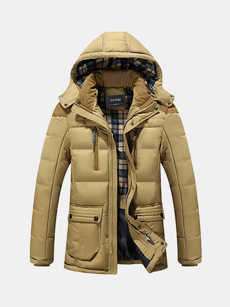 Winter Casual Outdoor Slim Thicken Warm Multi Pockets Detachable Hood Coat for Men