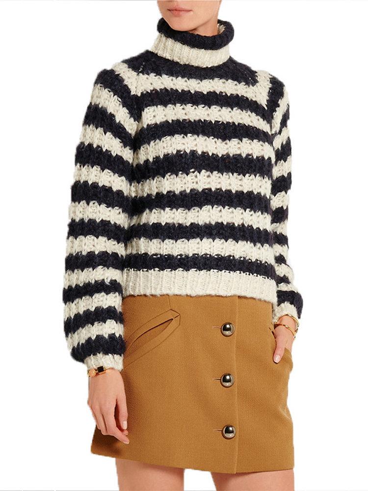 Повседневная Женщины высокий воротник с длинным рукавом в полоску свитер