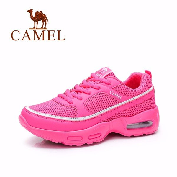 Camel Mesh Leather Breathable Peach Air Lace Up Running Sport Sneakers