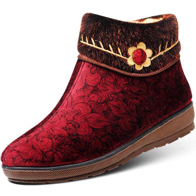 Big Size Flower Button Pattern Vintage Flat Ankle Warm Cotton Boots