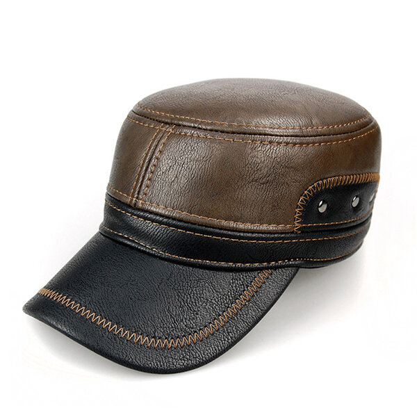 Men Warm Earflaps Leather Cap Flat Trucker Outdoor Sports Baseball Cap