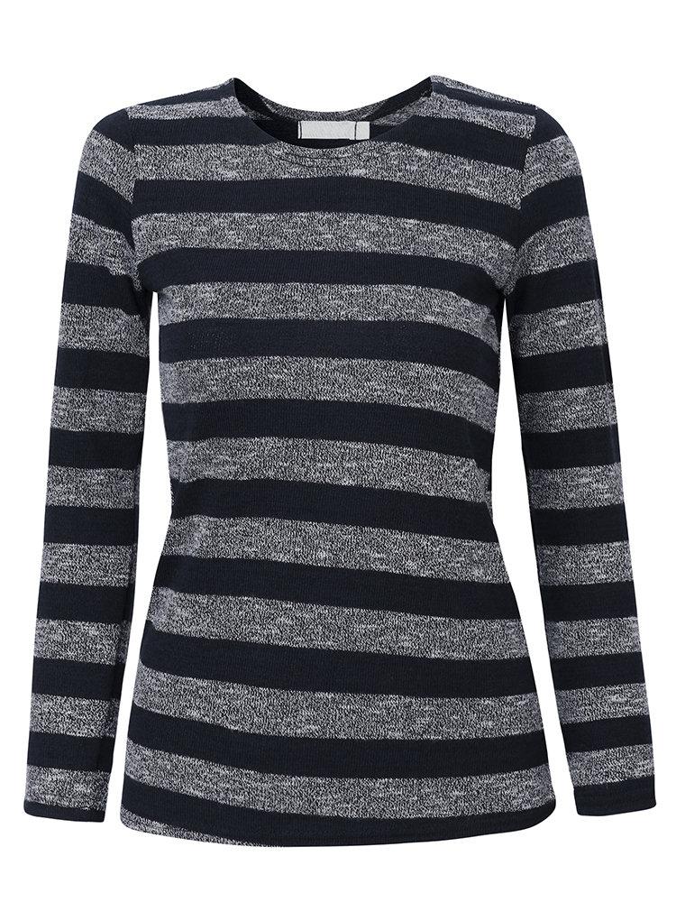 Women Casual Stripe Knitting Long Sleeve O-neck T-shirt