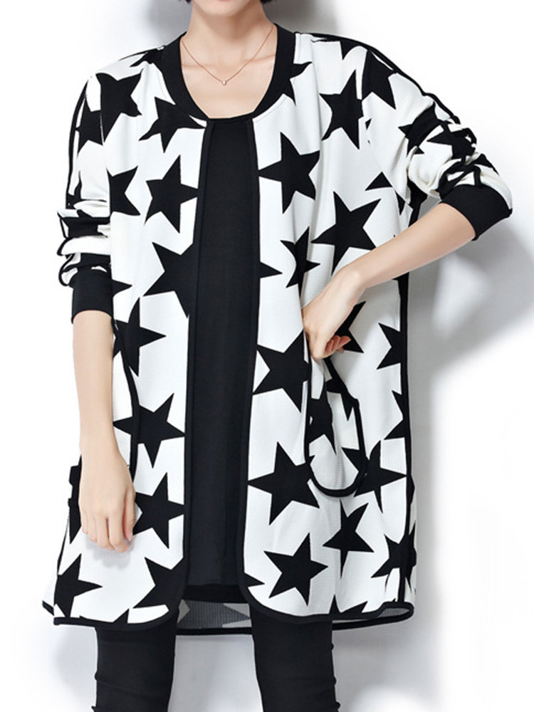 Autumn Elegant Casual Five-pointed Star Pattern Long Sleeve Cardigan For Women